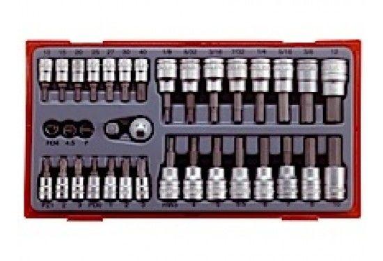 """35 dele Top- og bitssæt med 1/4"""" og 3/8"""" □-fatning Teng Tools TTBS35"""