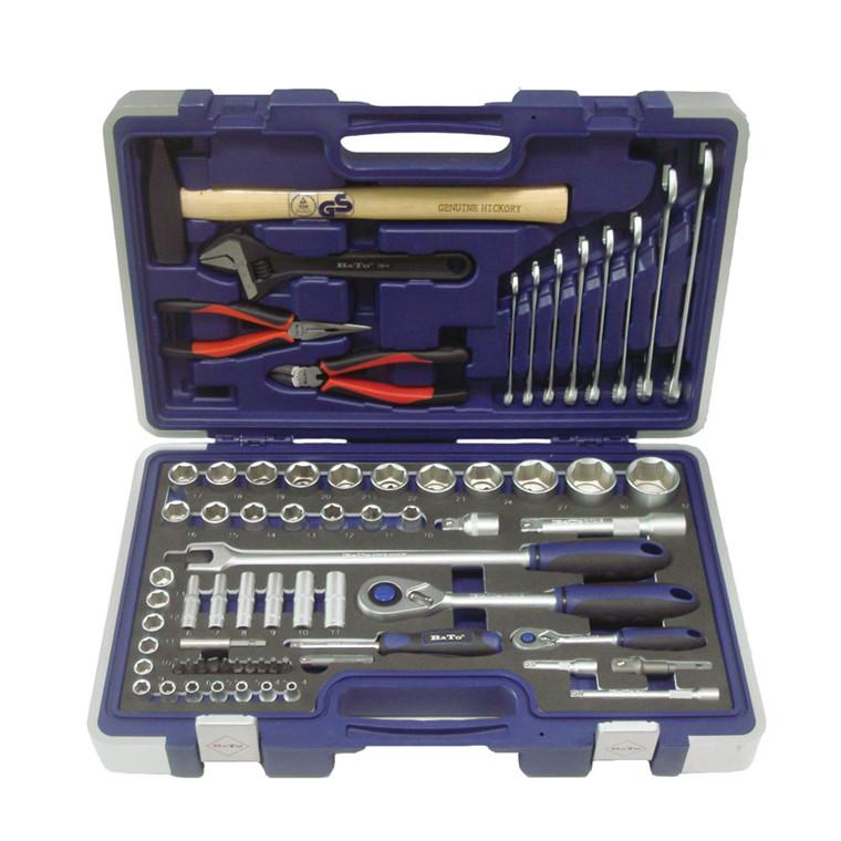 BATO Topnøgle-/kombisæt 1/4+1/2. Hammer. Tænger. Skiftenøgle. Fastnøgler. 69 dele