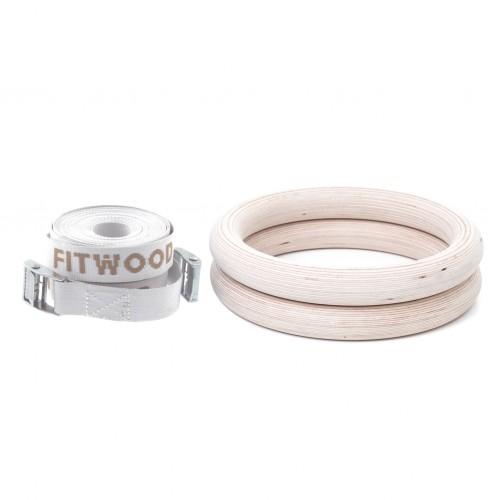 FitWood Gymnastikringe 28mm - Træ-overflade / Hvid Strop