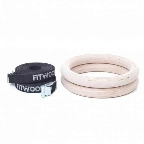FitWood Gymnastikringe 28mm - Træ-overflade / SortStrop