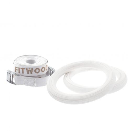 FitWood Play Gymnastikringe 25mm - Hvid overflade / Hvid Strop