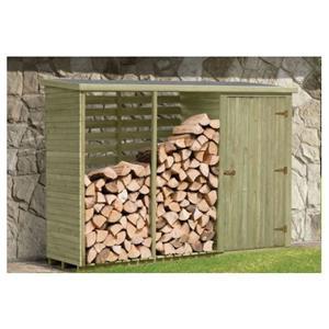 Redskabsrum med brændeskur i trykimprægneret træ 1 m2