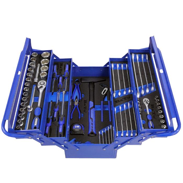 BATO værktøjskassesæt med 75 dele metalkasse med EVA skum 1130