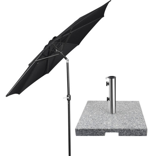 Markedsparasol m/krank sort + tilt inkl. parasolfod